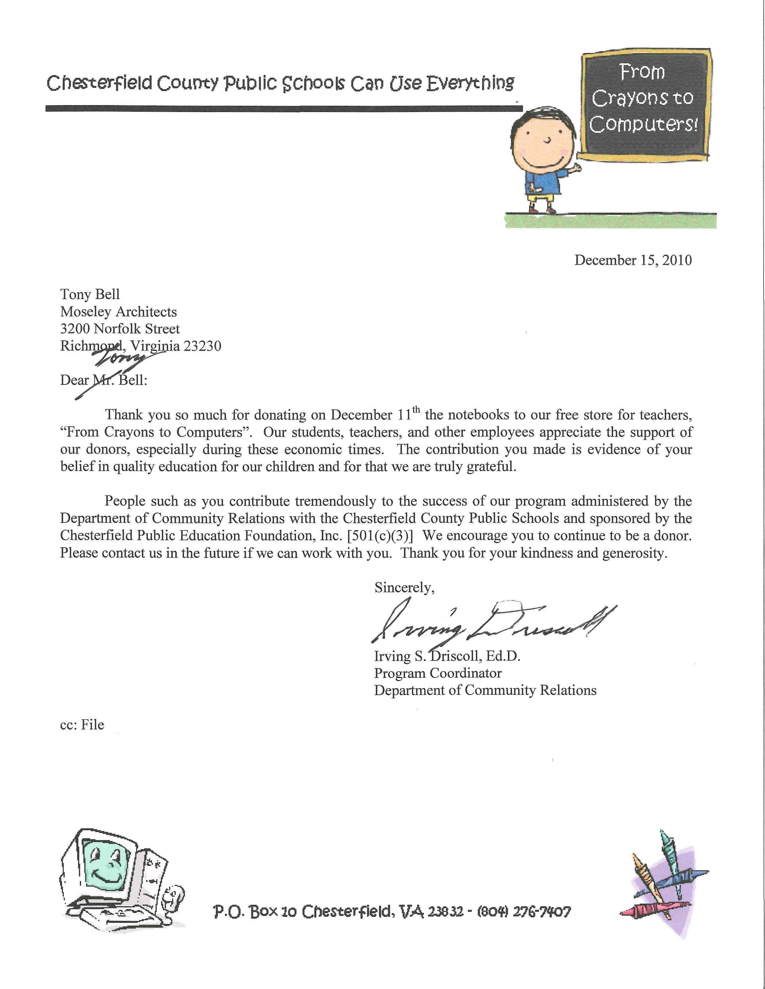 Thank you letter for money donation to school 28 images 8 thank you letter for money donation to school thank you letter for donation of school supplies altavistaventures Gallery